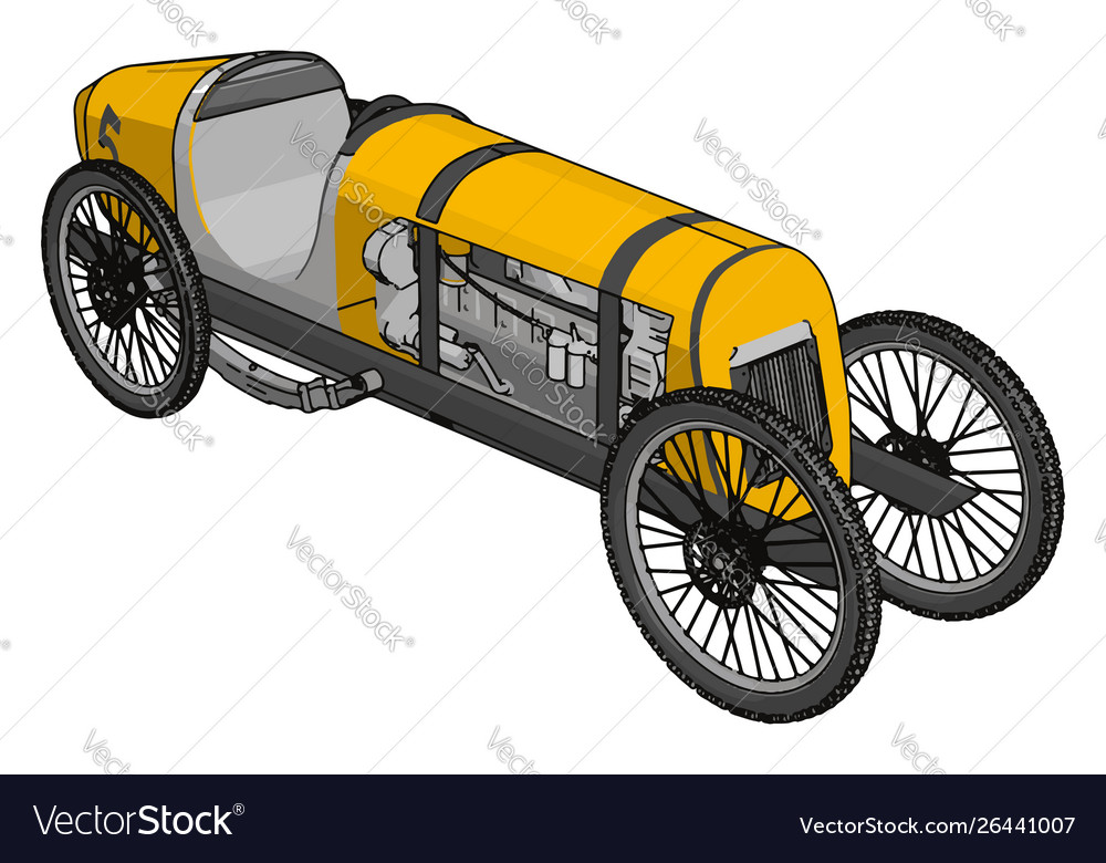 Yellow antique car on white background