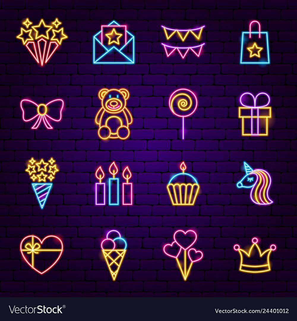 Birthday neon icons