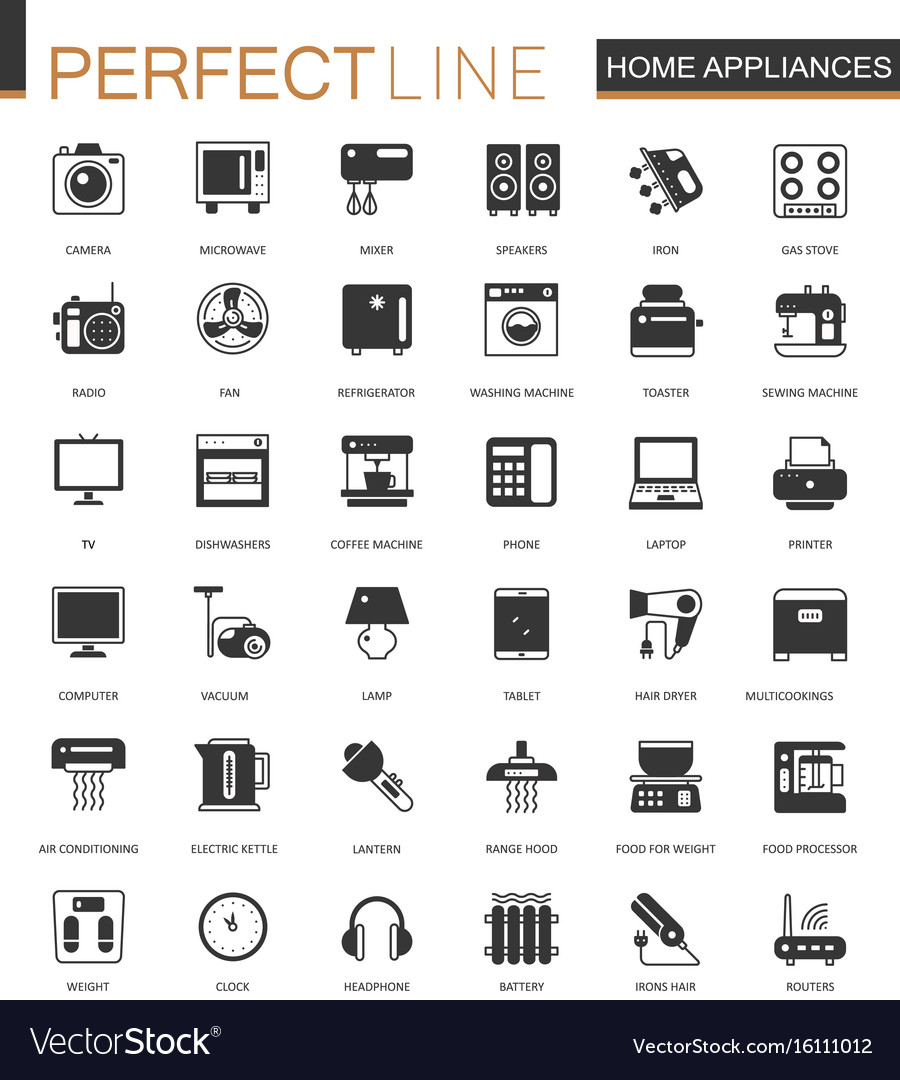 Black classic home appliances household web icons