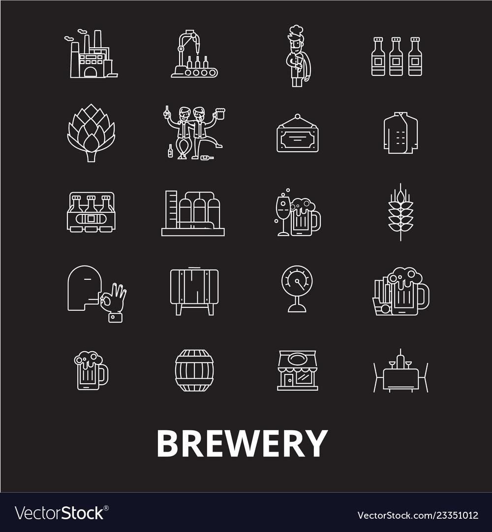 Brewery editable line icons set on black