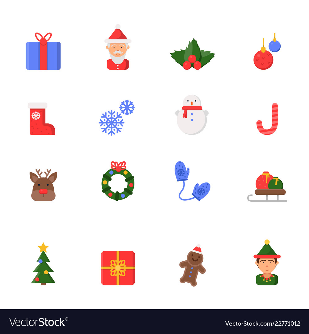 Christmas flat icons winter celebration