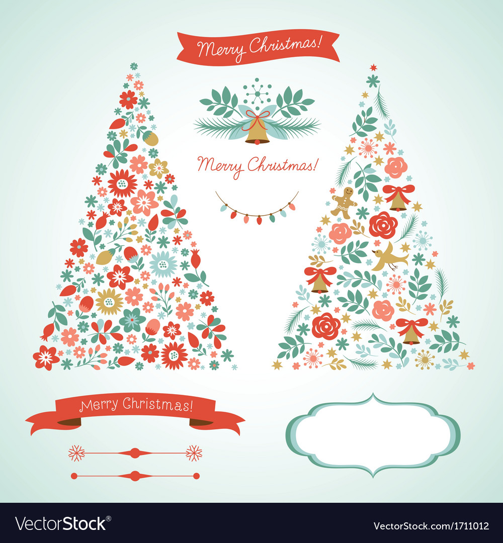 Christmas trees and graphic elements