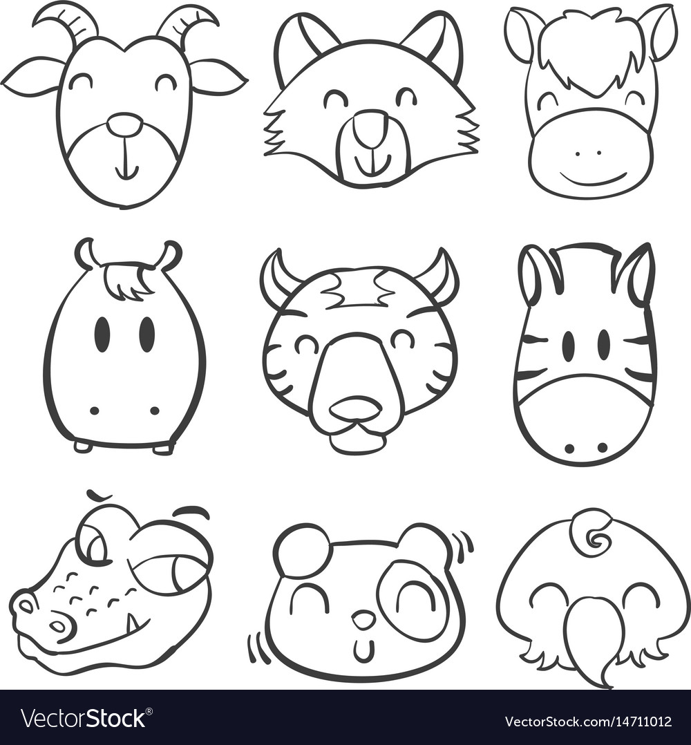 Collection animal head hand draw vector image