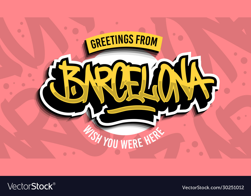 Greetings from barcelona spain hand drawn