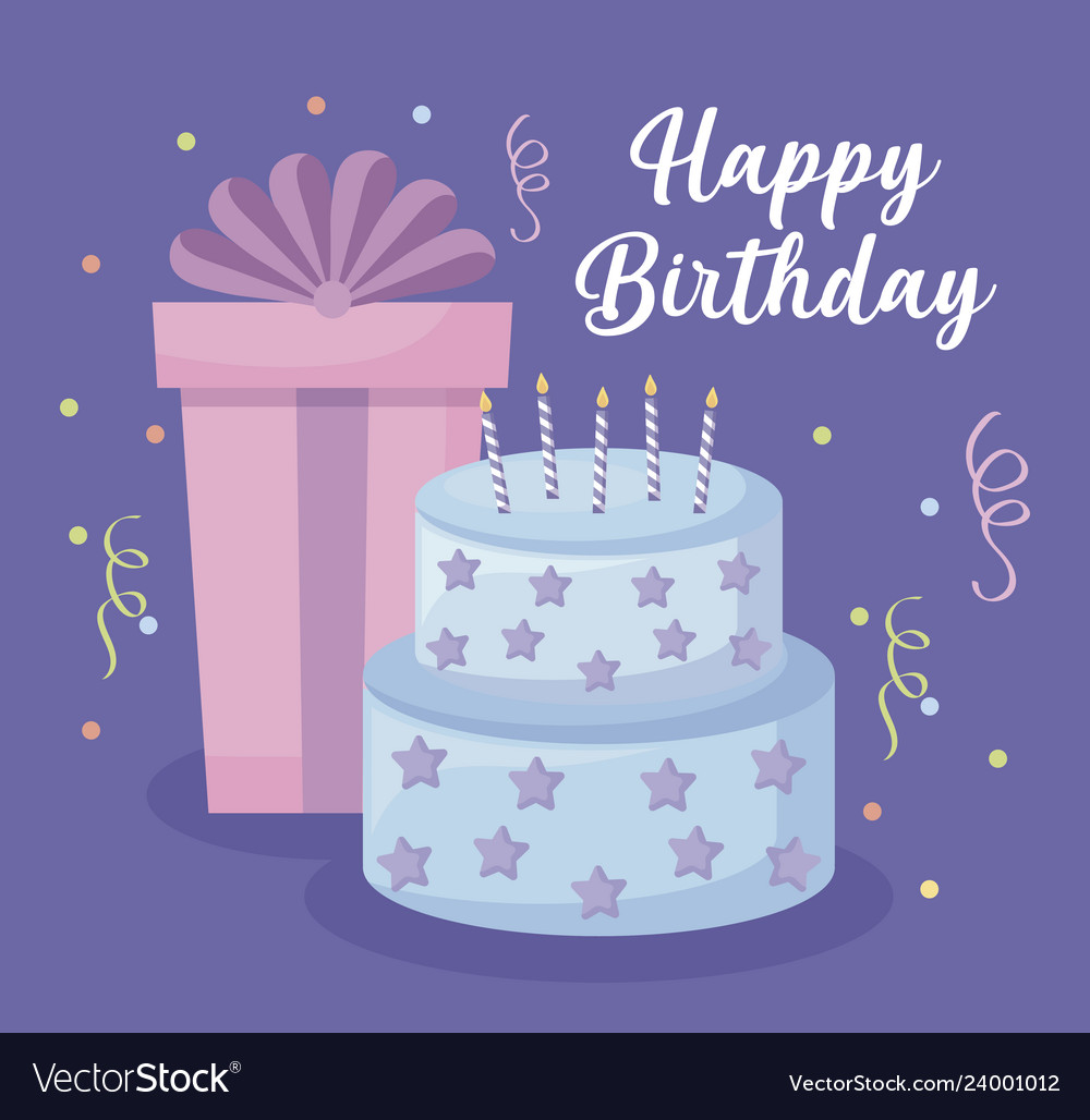 Happy Birthday Card With Sweet Cake And Gift Box Vector Image