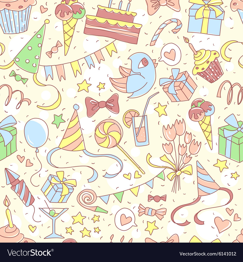 Happy birthday party seamless colored pattern with