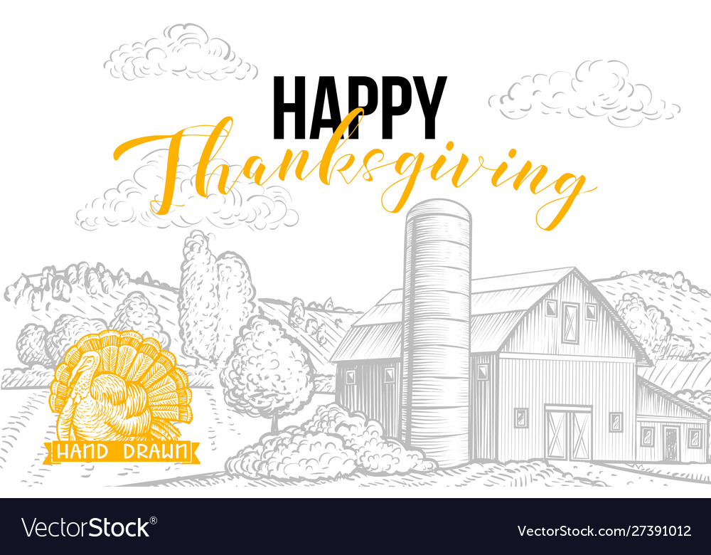 Happy thanksgiving hand drawn banner template