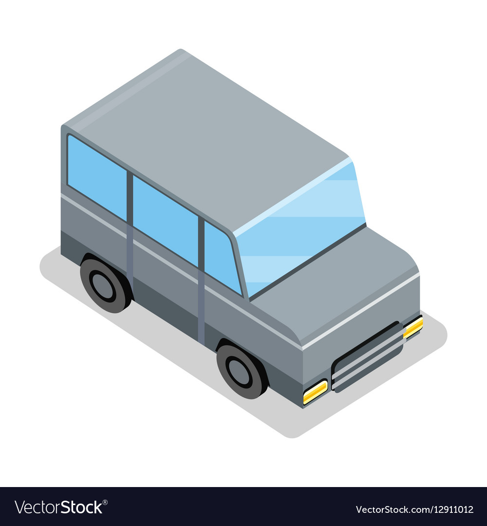 Isometric Gray Jeep Icon vector image