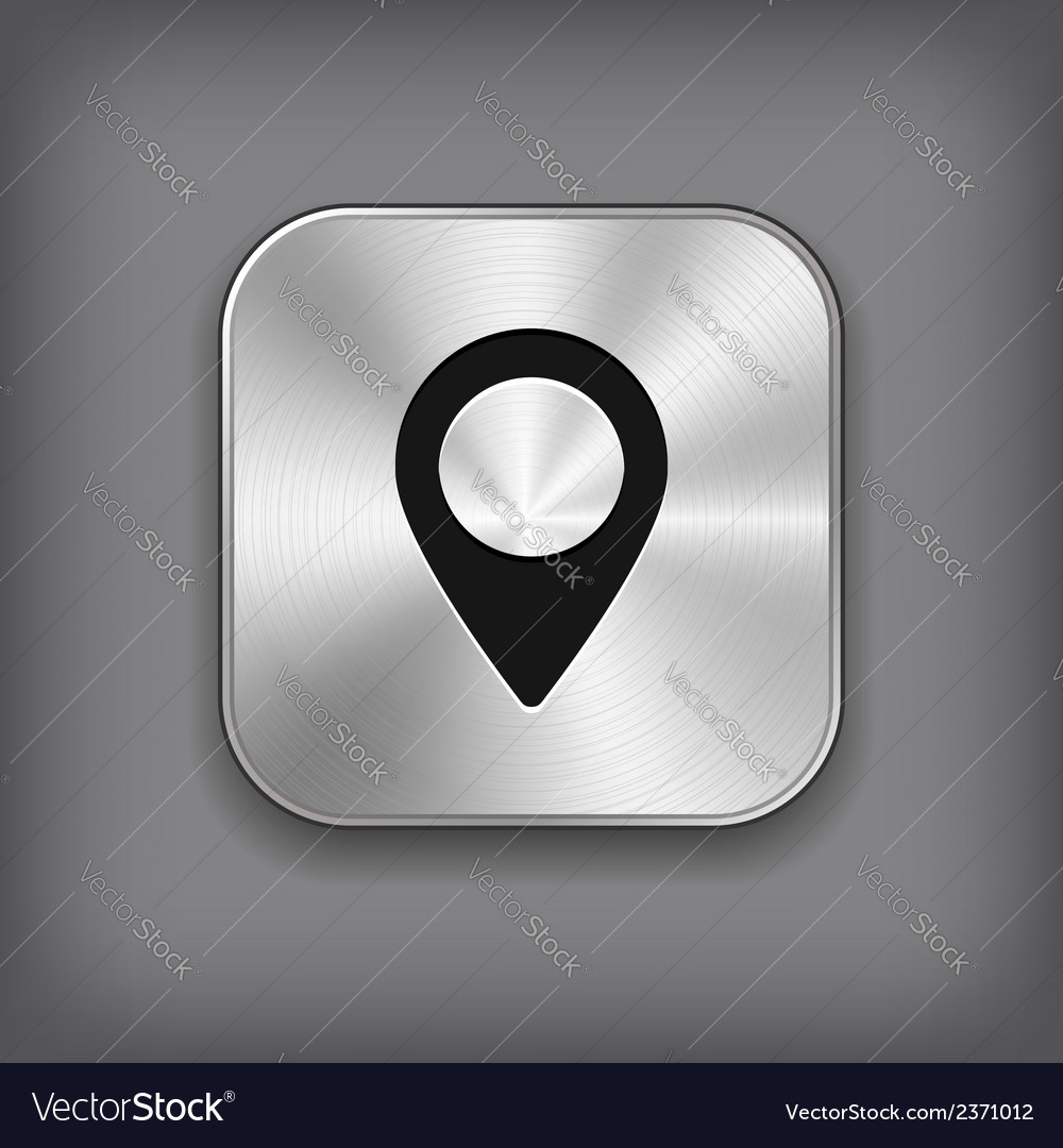 Map pointer icon - metal app button