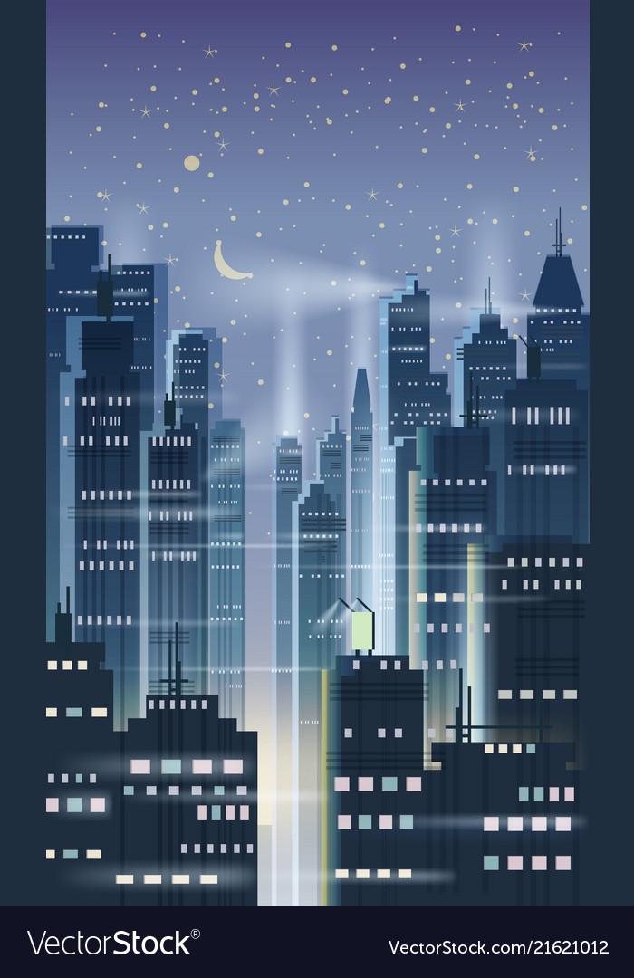 Night city city scene skyscrapers towers