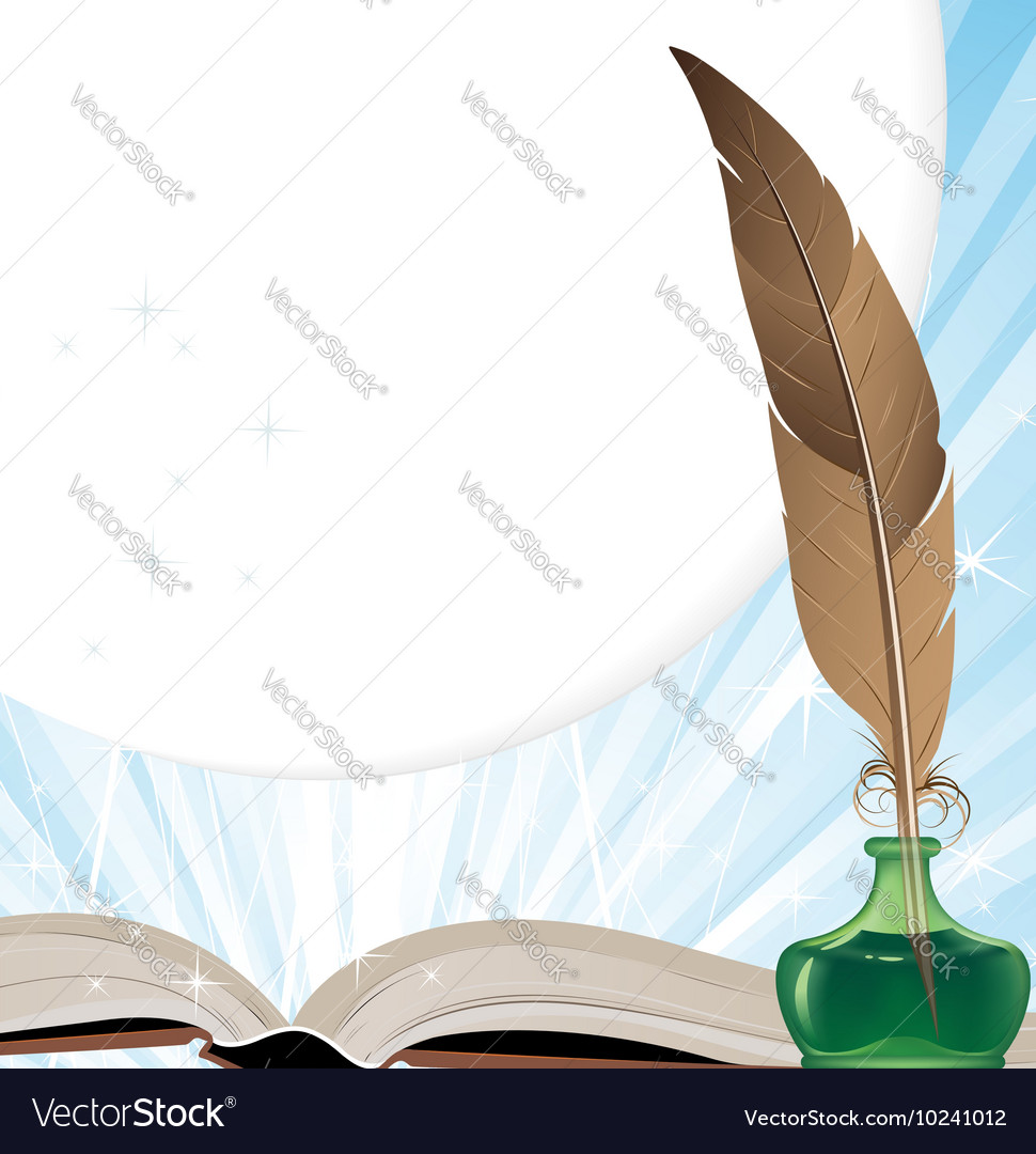 Old Book And Writing Utensils Vector Image