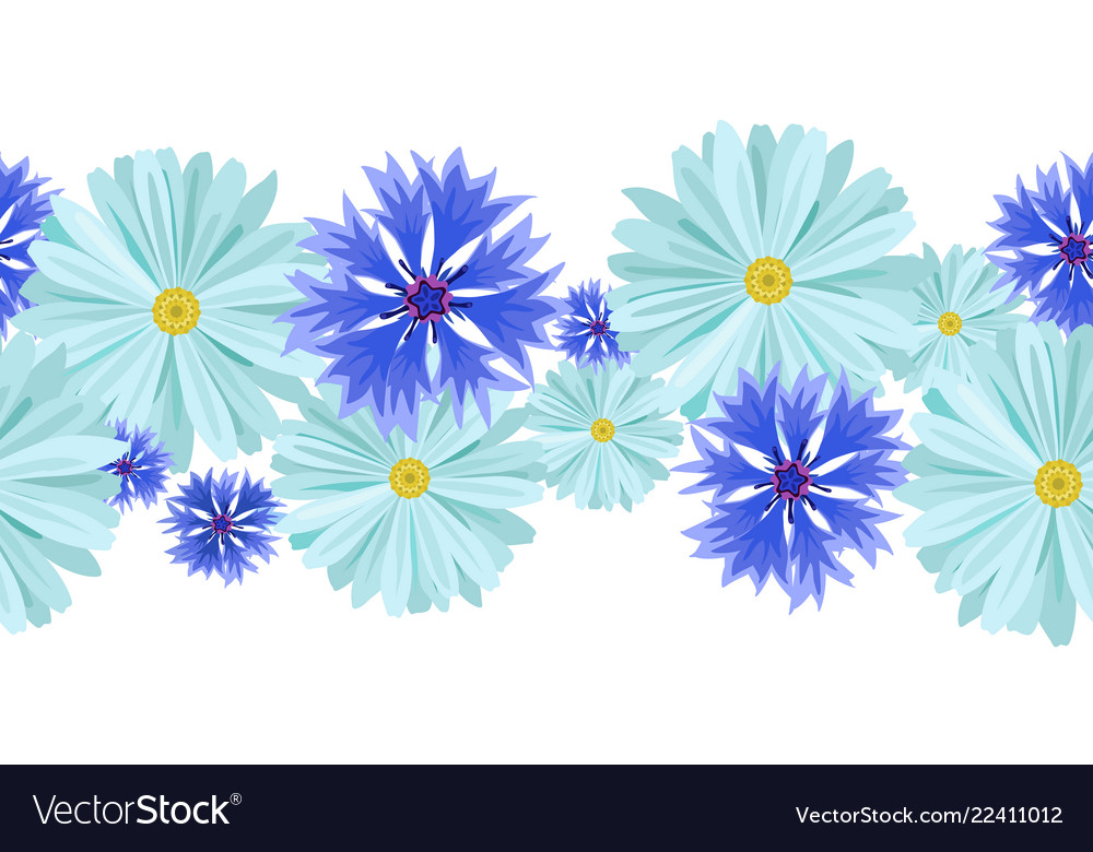 Seamless pattern blue daisies and cornflowers