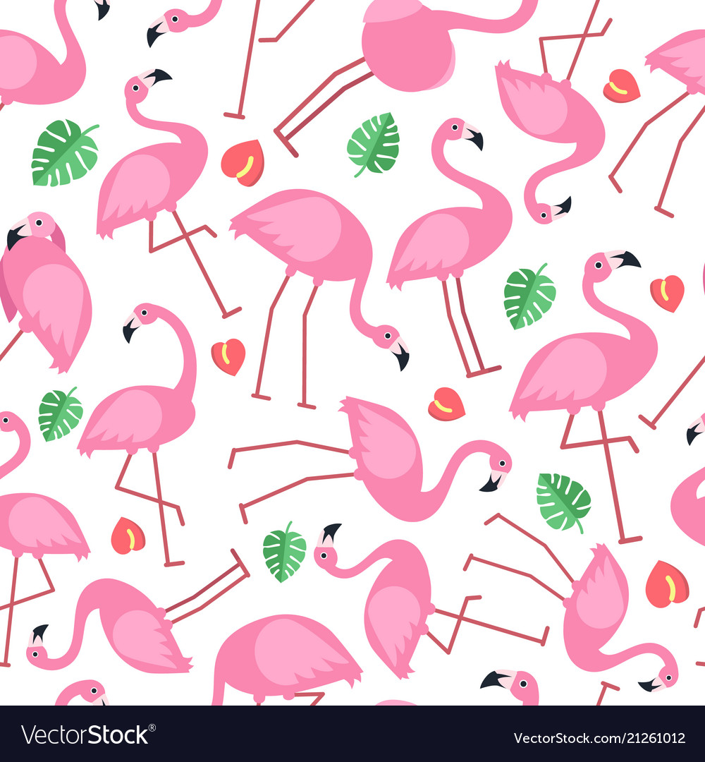 Seamless pattern with pictures of pink flamingo