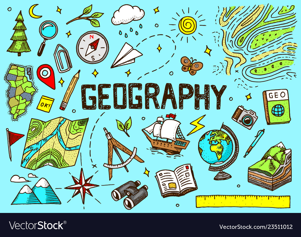 Set of geography symbols equipments for web