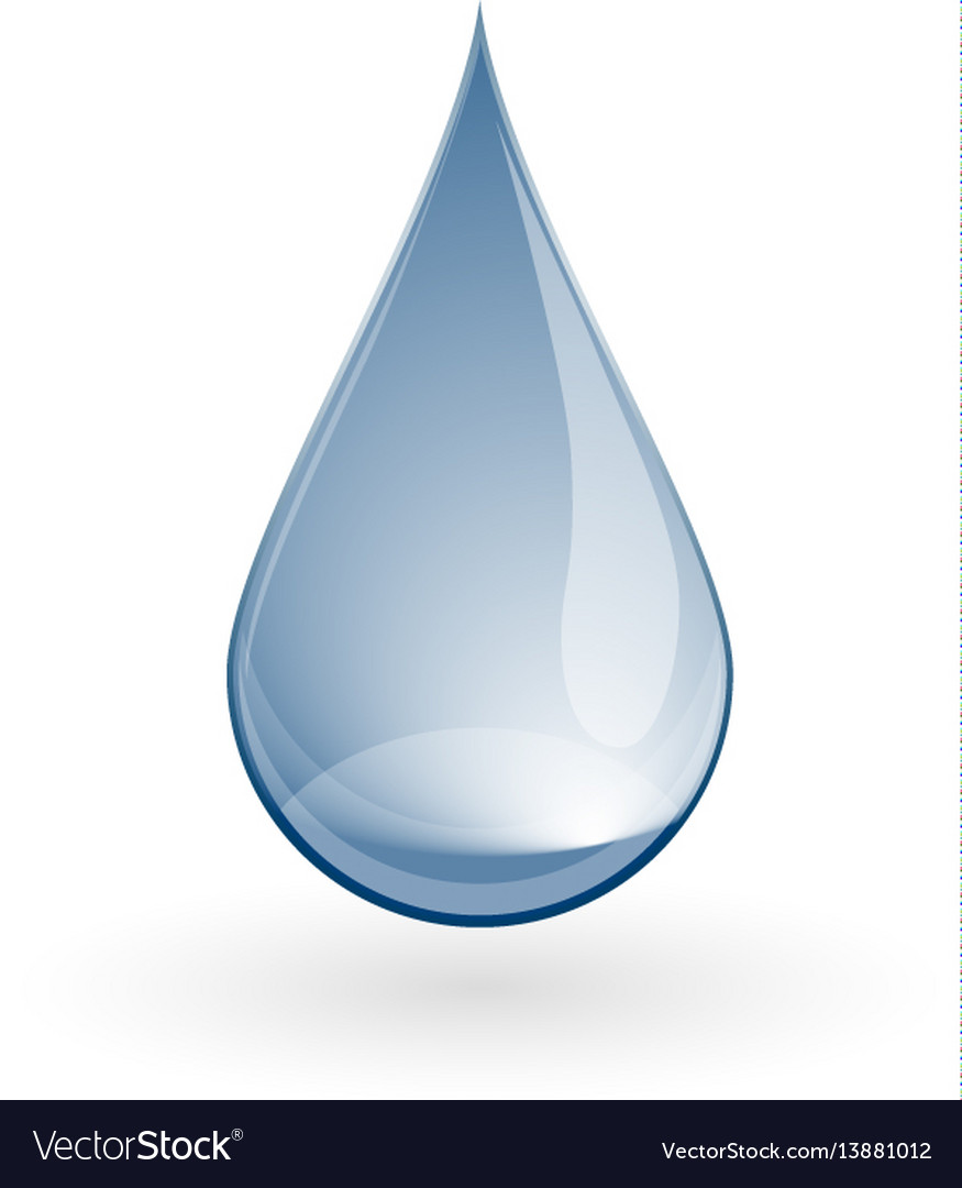Shiny blue water drop on white vector image