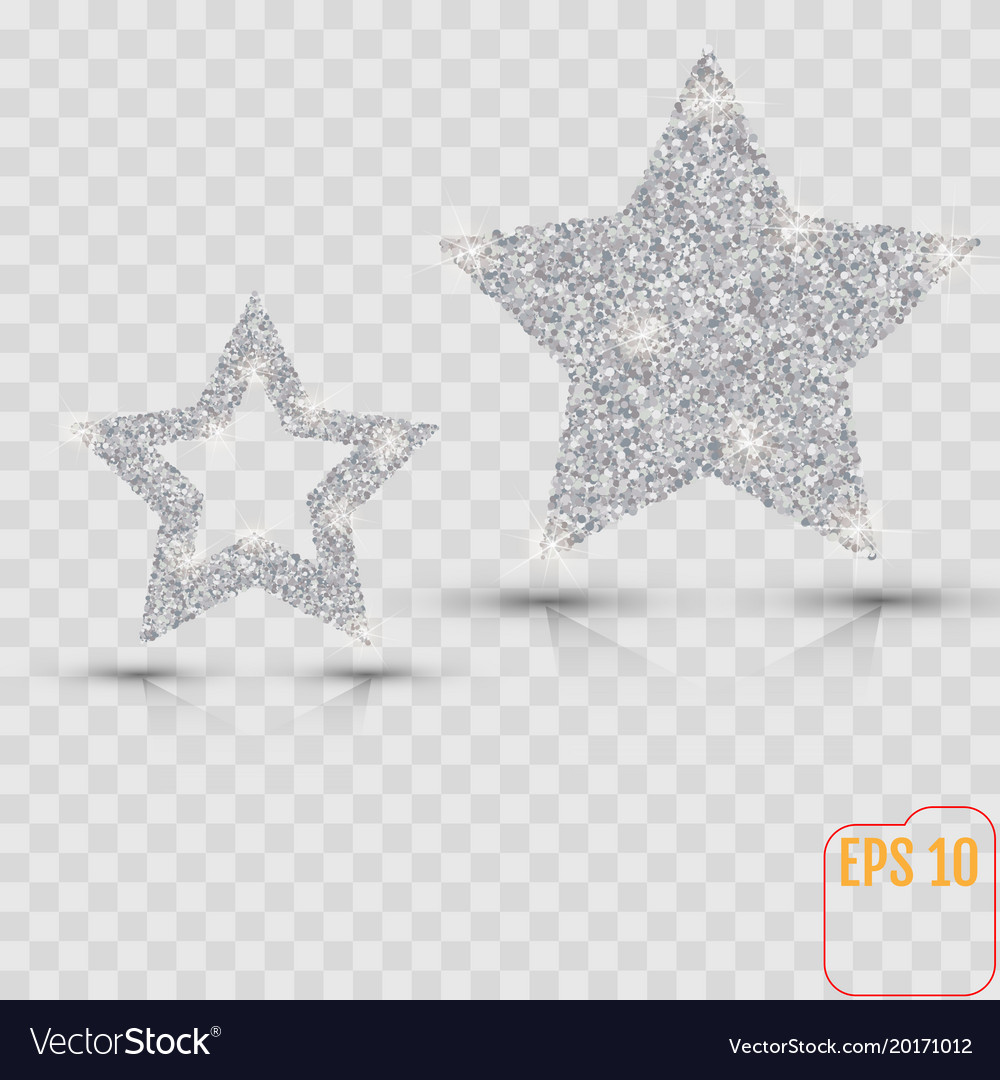 silver star banner silver glitter template card vector image