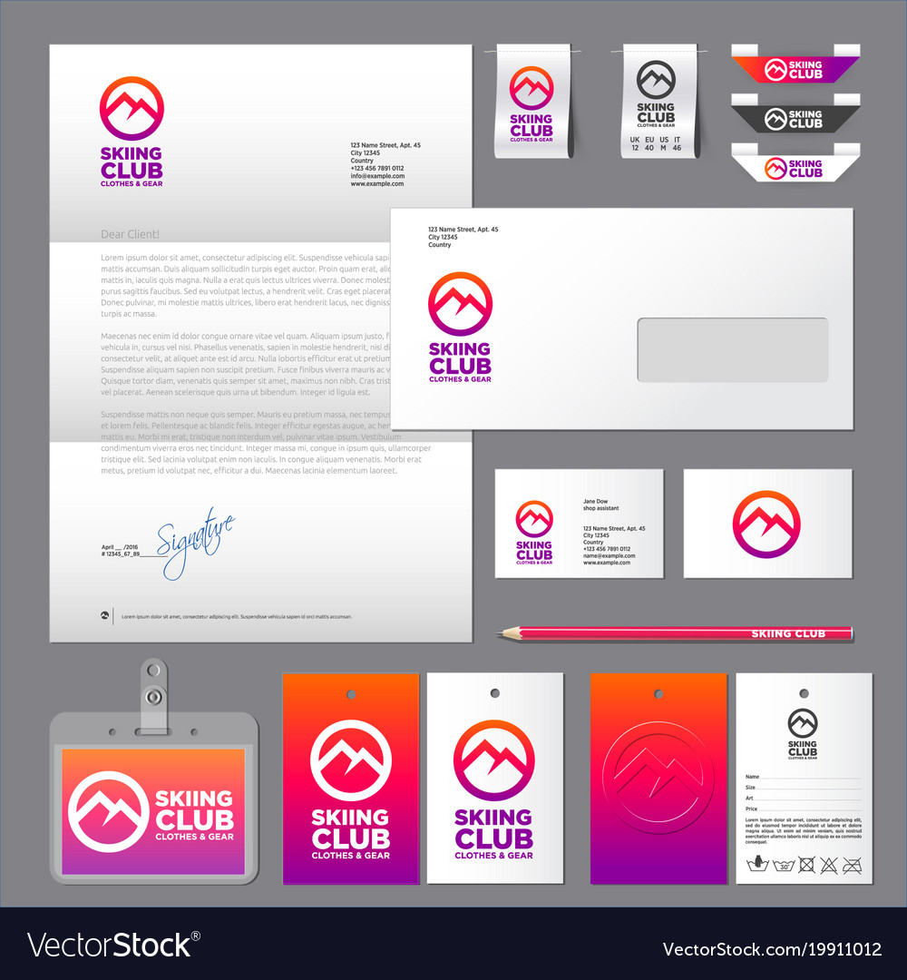 Skiing club identity labels set
