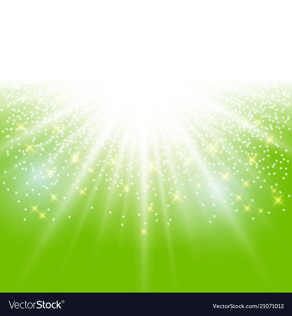 Sunlight effect sparkle on green background with