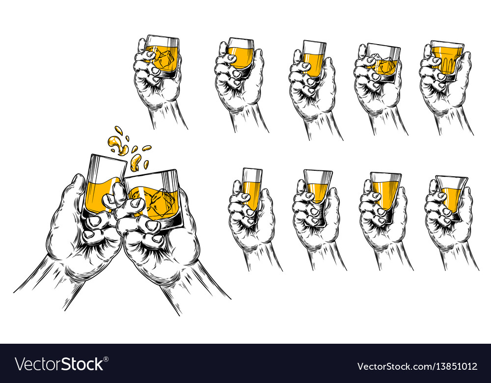 Two hands raised stemware vector image