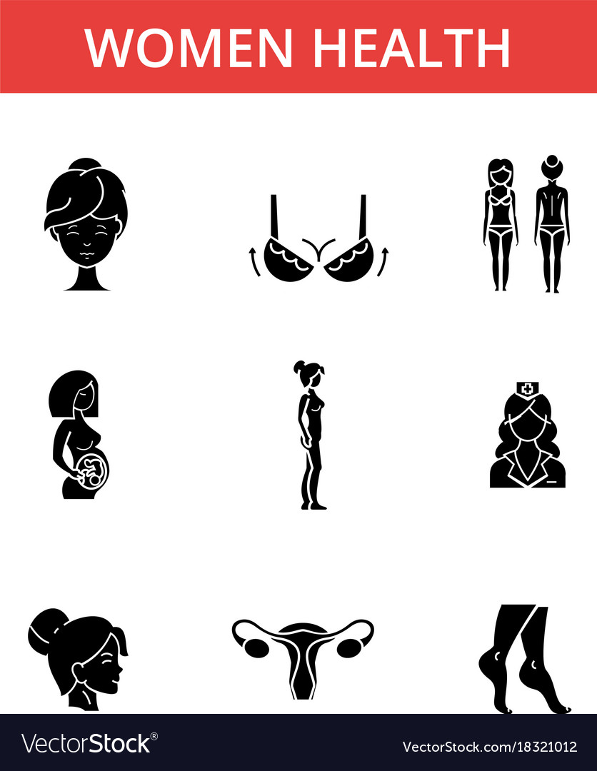 Women health thin line icons linear