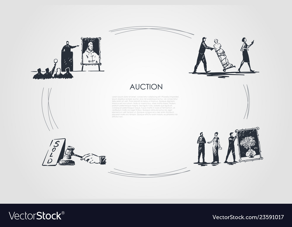 Auction - bidding carrying artworks hammering