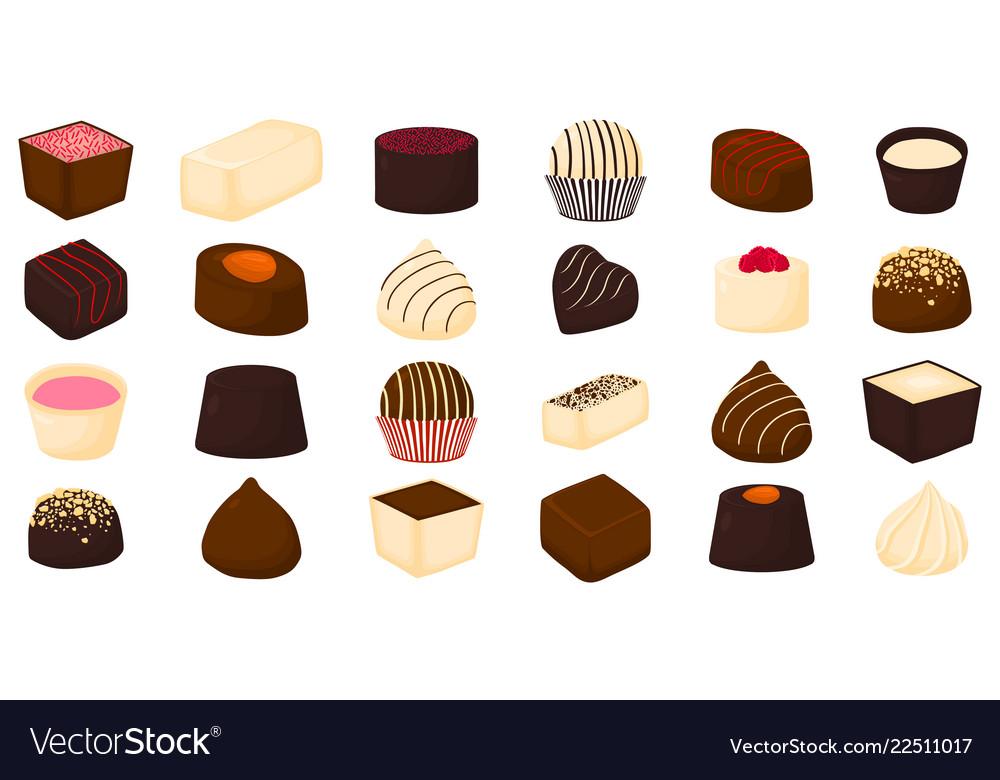 Beautiful big set of colorful chocolate desserts