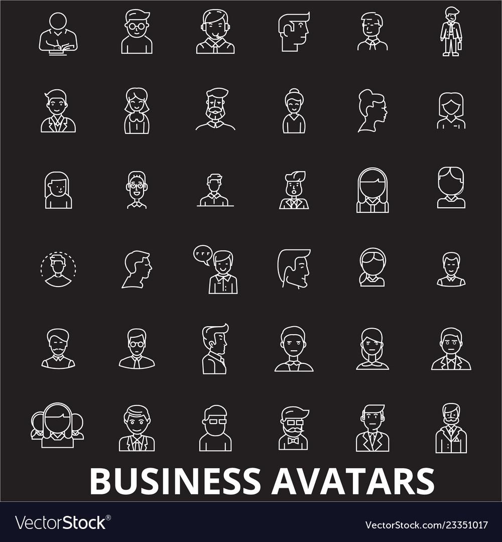 Business avatars editable line icons set on