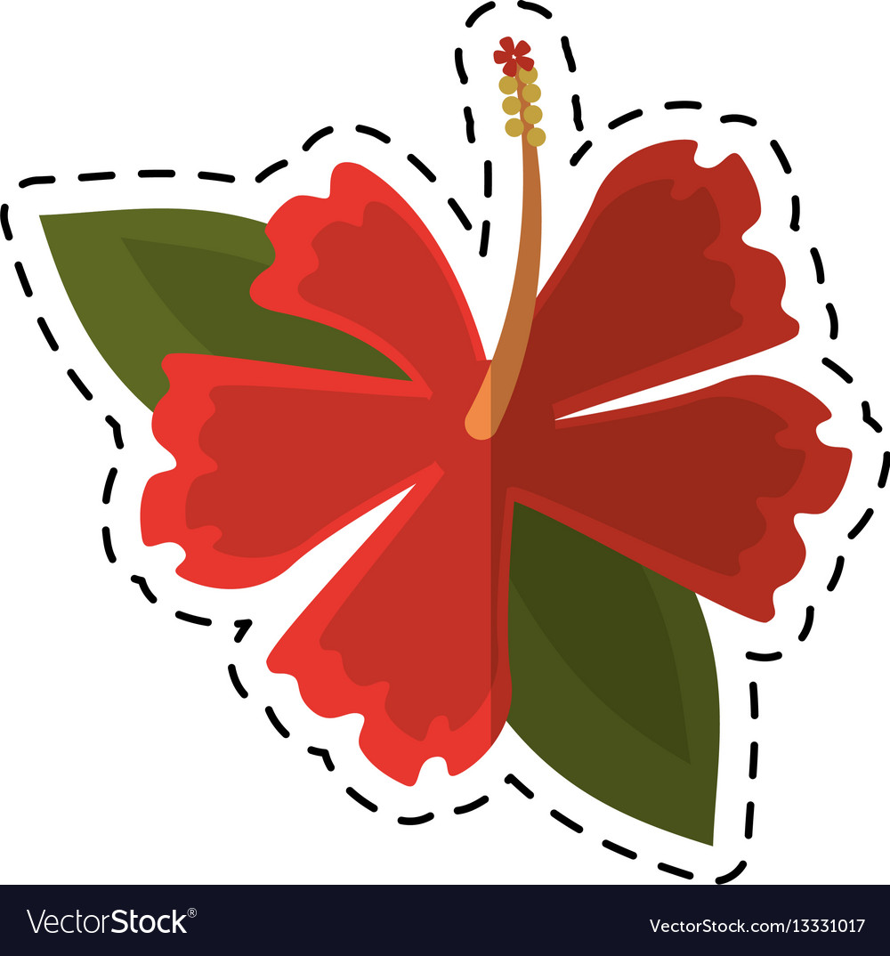 Cartoon Hibiscus Flower Exotic Icon Royalty Free Vector