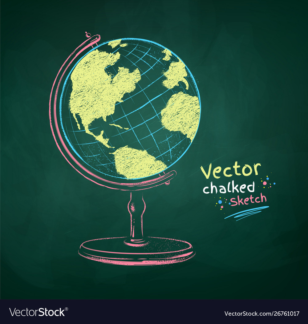 Color chalk drawn globe