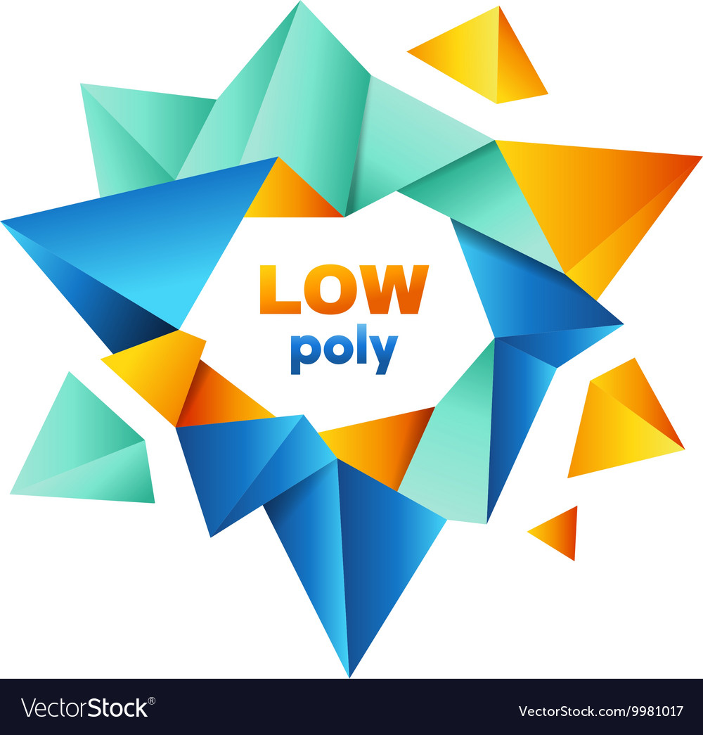 Colorful polygonal crystal logo design vector image