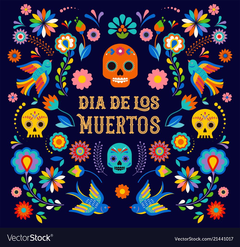 Day of the dead dia de los moertos banner with