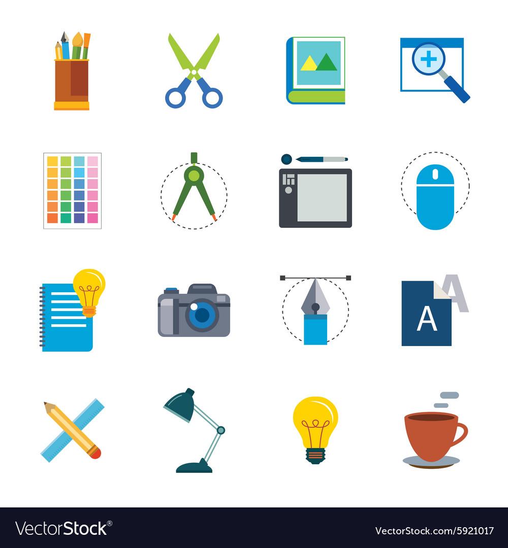 Designer tool flat icon