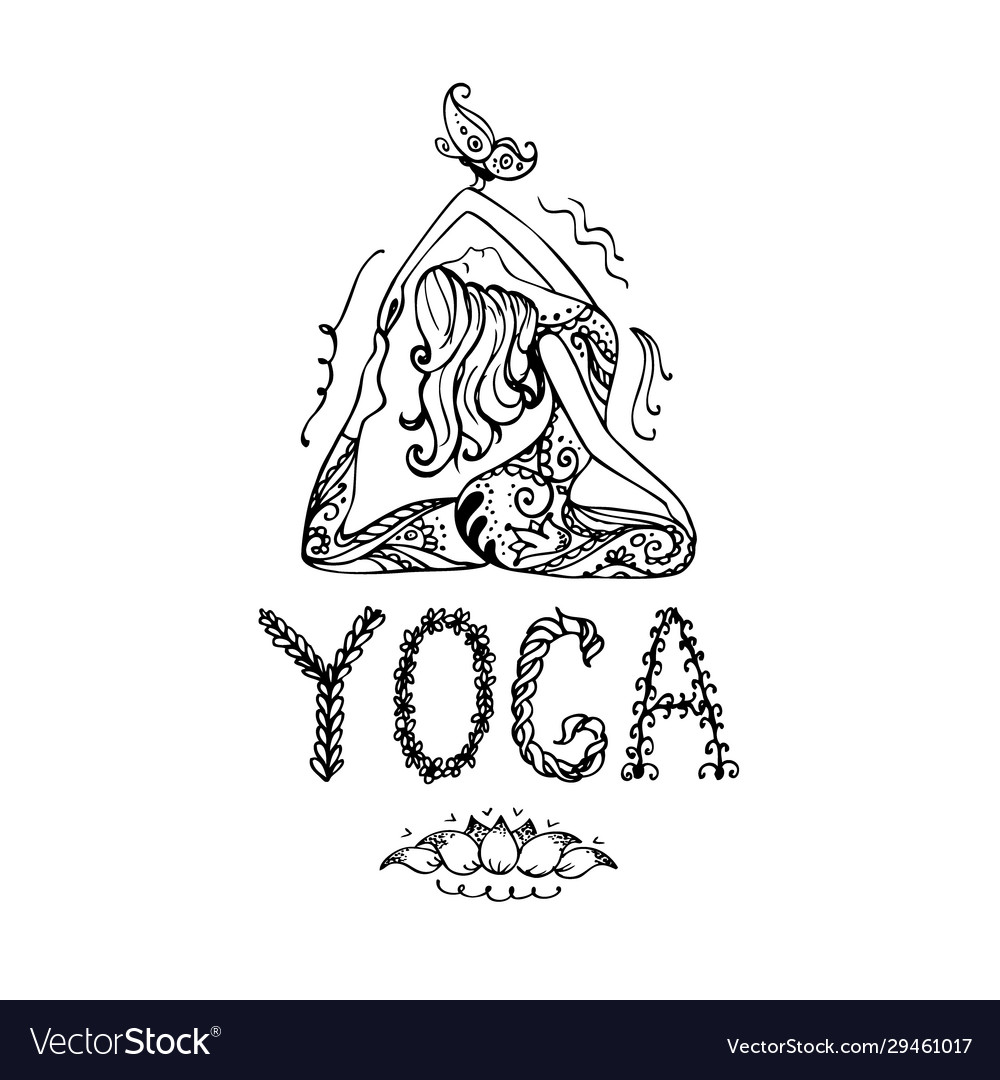 Girl In Lotus Yoga Pose Doodle Hand Drawn In Vector Image