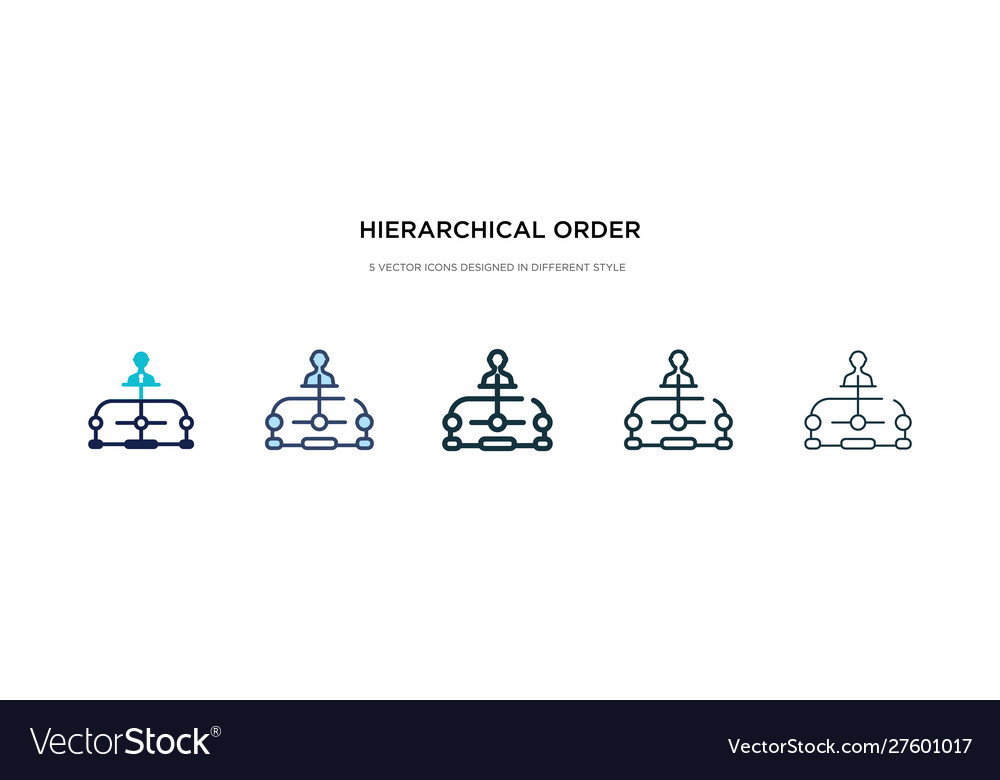 Hierarchical order icon in different style two
