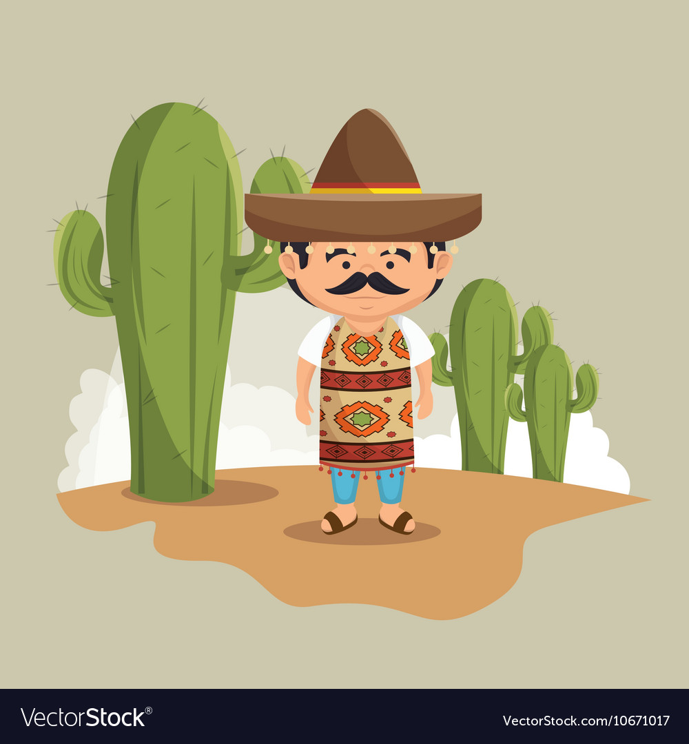 Mexican man hat traditional dress design vector image