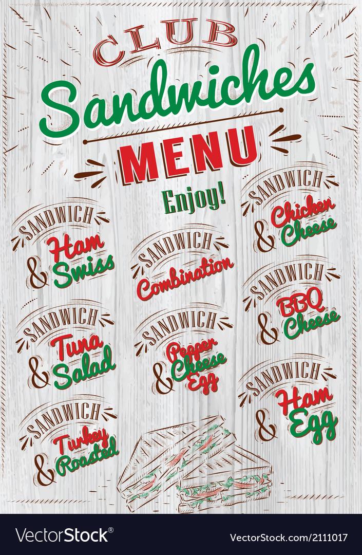 Sandwiches menu wood