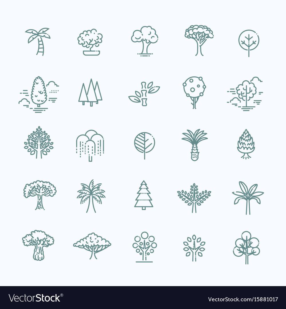 Set of tree shape line icons