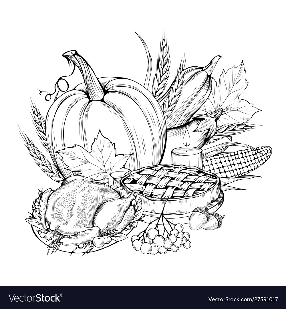 Thanksgiving food coloring book