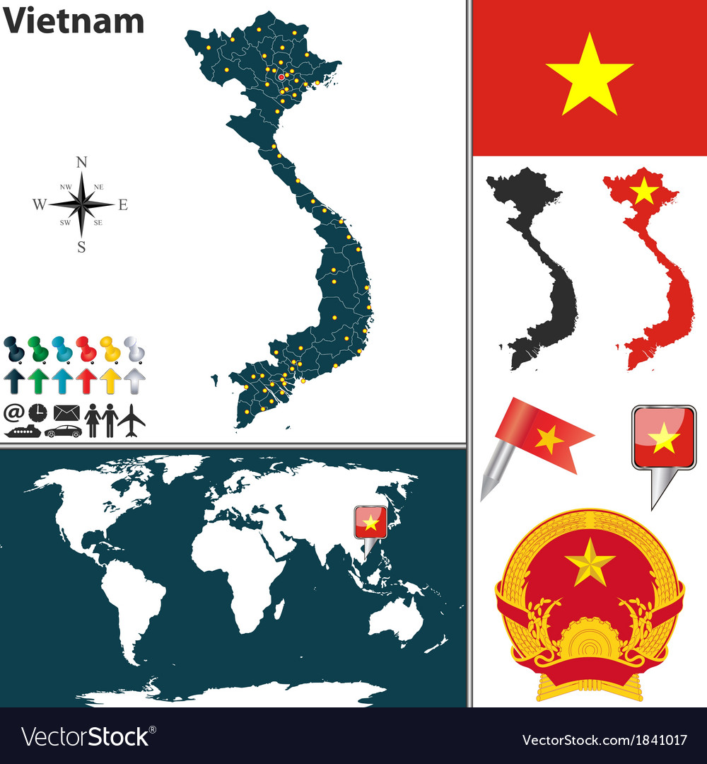 Vietnam map world Royalty Free Vector Image - VectorStock