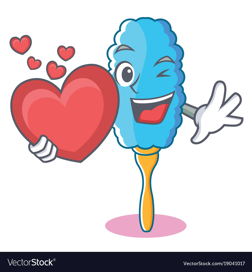 With heart feather duster character cartoon
