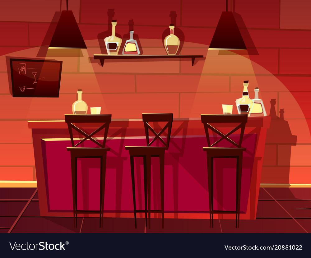 Bar Pub Counter Interior Cartoon