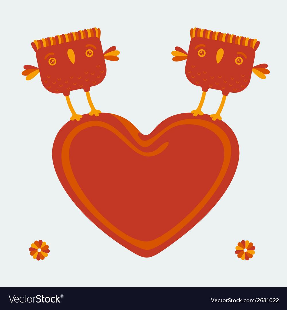 Birds holding heart
