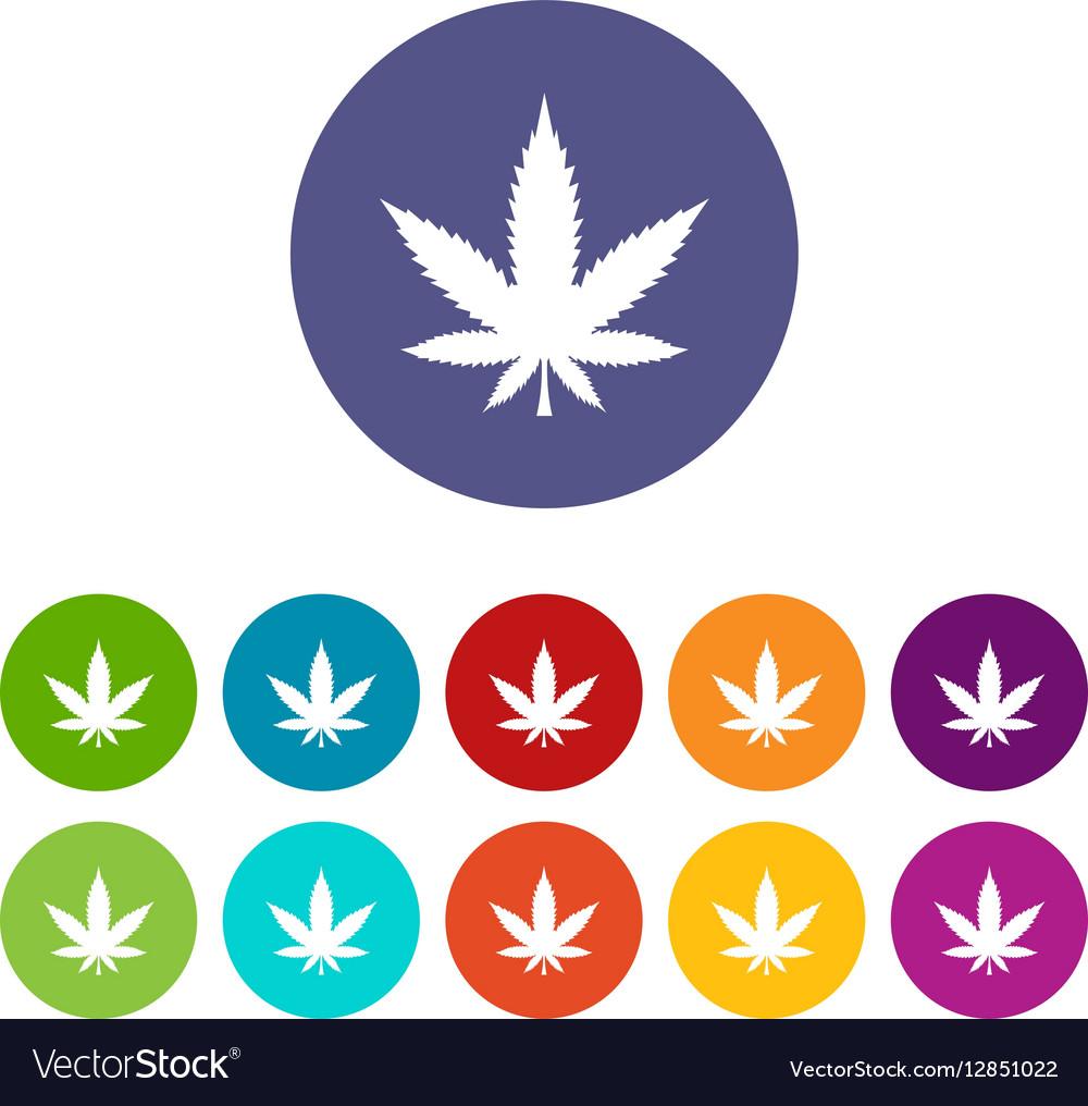 Cannabis leaf set icons