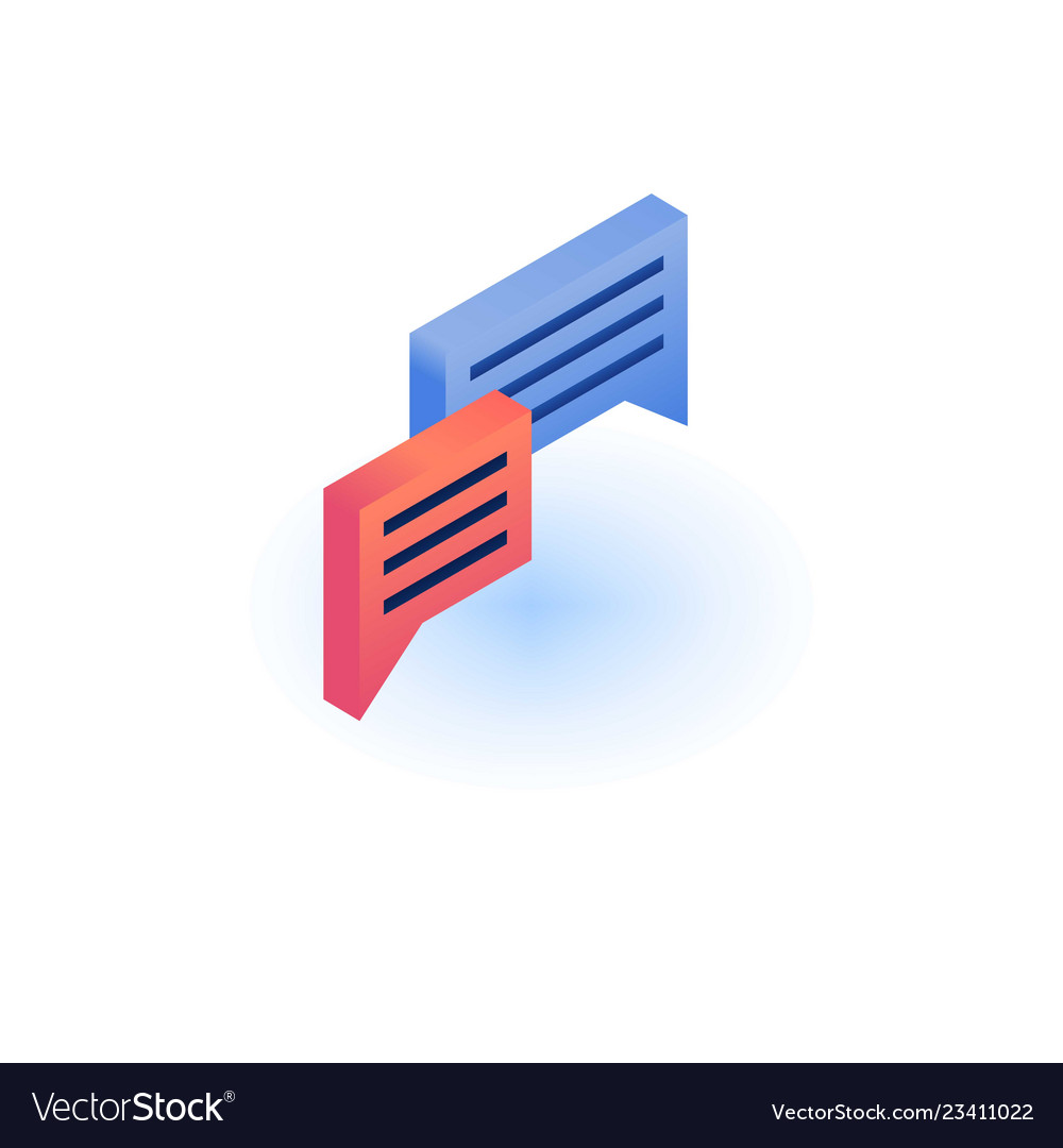 Chat bubble icon isometric style