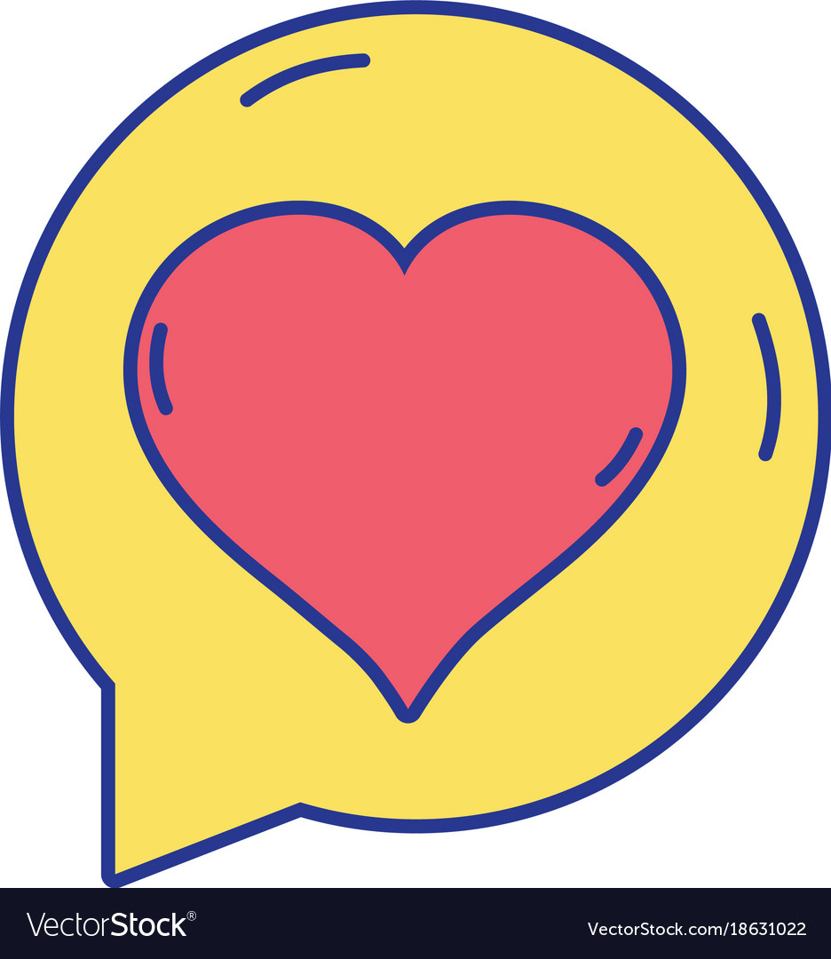 Chat Bubble With Heart Inside To Love Message Vector Image
