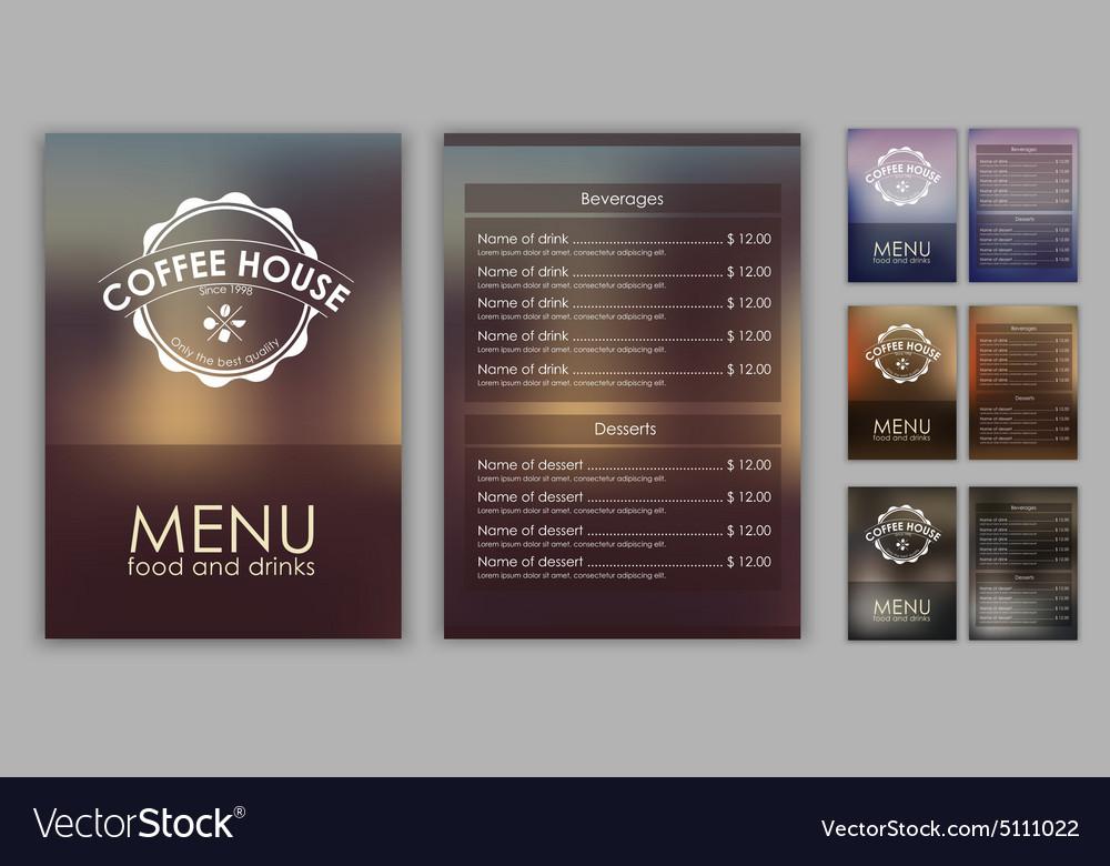 Design coffee menu with blurred background