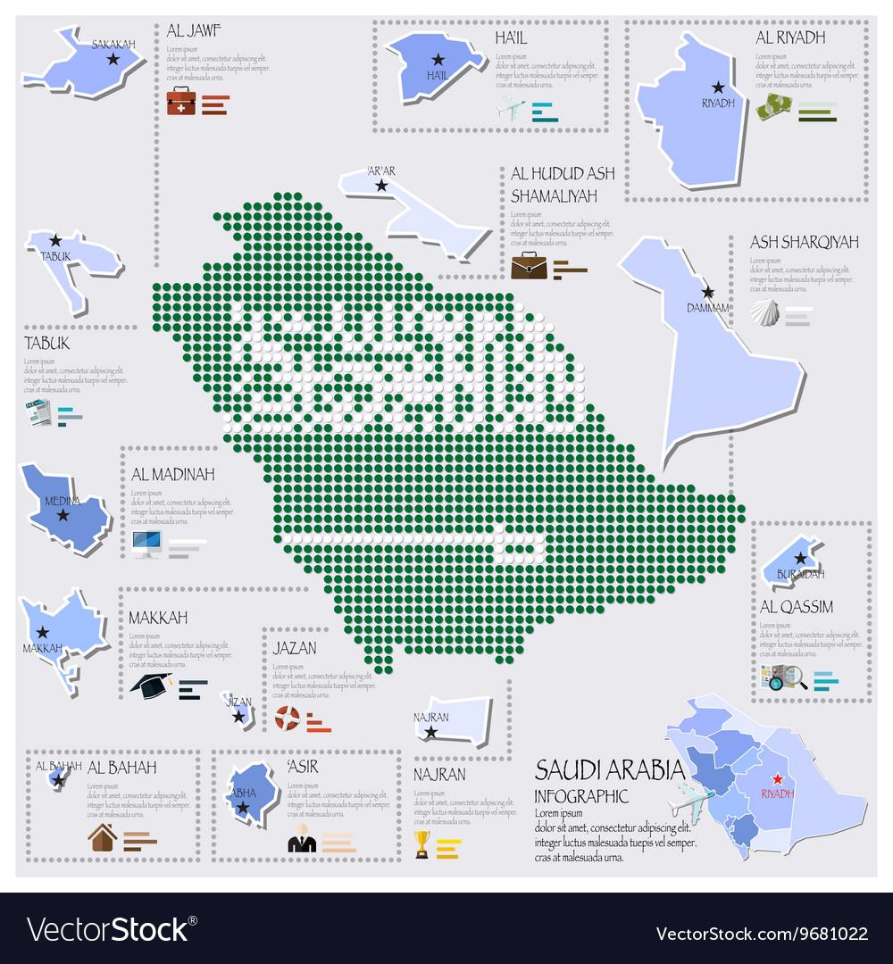 Dot And Flag Map Of Saudi Arabia Infographic vector image