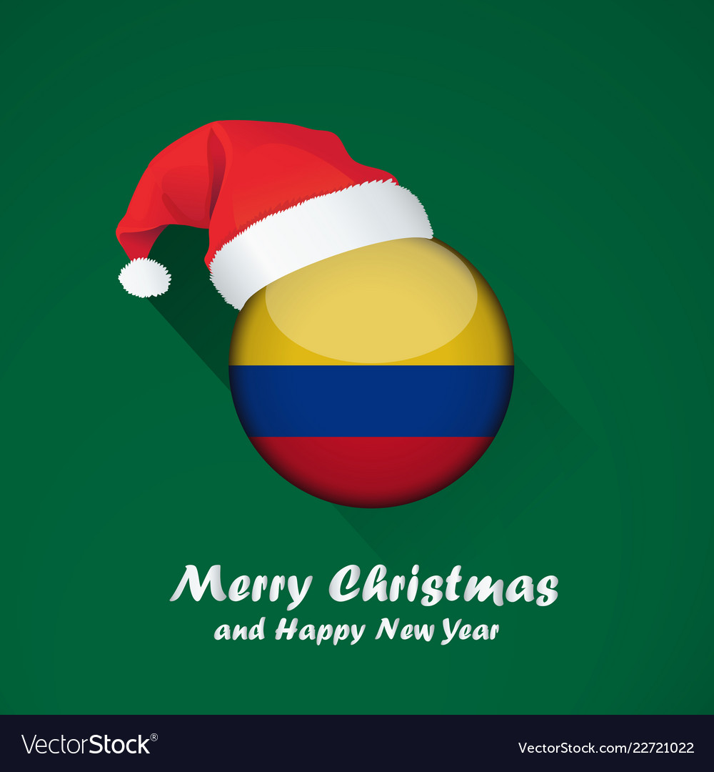 Christmas In Colombia.Flag Of Colombia Merry Christmas And Happy New