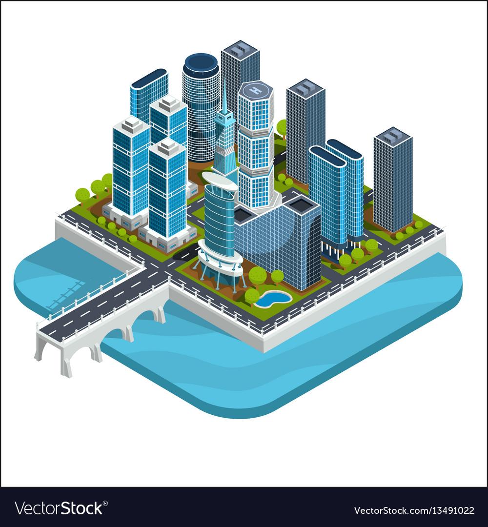 Isometric 3d of modern urban
