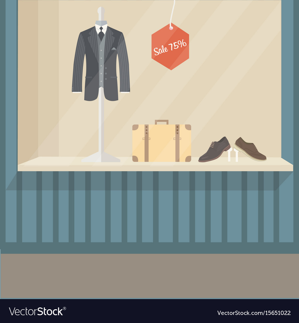 0042c41a284 Man suit fashion store front display mannequin Vector Image